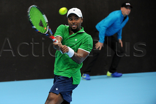 24.10.2016.  St. Jakobshalle, Basel, Switzerland. Basel Swiss Indoors Tennis Championships.  Donald Young (usa) in action in the match with Illya Marchenko of Ukraine