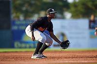 West Virginia Black Bears third baseman Ke'Bryan Hayes (3) during a game against the Batavia Muckdogs on August 30, 2015 at Dwyer Stadium in Batavia, New York.  Batavia defeated West Virginia 8-5.  (Mike Janes/Four Seam Images)