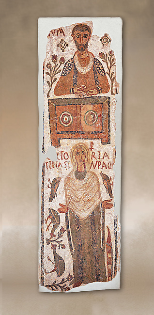 The Christian Eastern Roman Byzantine memorial funerary mosaic of a father and daughter, the father is sitting at a bankers desk. Thabarca, Tabarks, 5th Century AD, Bardo Museum, Tunis.