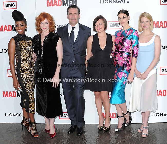 Teyonah Parris, Christina Hendricks, Jon Hamm, Elsabeth Moss, Jessica Pare and January Jones at The AMC Premiere of The 6th Season Of Mad Men held at The DGA in West Hollywood, California on March 20,2013                                                                   Copyright 2013 Hollywood Press Agency
