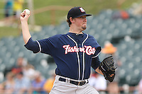 New Hampshire Fisher Cats pitcher Deck McGuire #13 delivers a pitch during a game against the Bowie Baysox at Prince George's Stadium on June 17, 2012 in Bowie, Maryland. New Hampshire defeated Bowie 4-3 in 13 innings. (Brace Hemmelgarn/Four Seam Images)