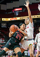 COLLEGE PARK, MD - FEBRUARY 9: Arella Guirantes #24 of Rutgers powers her way past Shakira Austin #1 of Maryland during a game between Rutgers and Maryland at Xfinity Center on February 9, 2020 in College Park, Maryland.