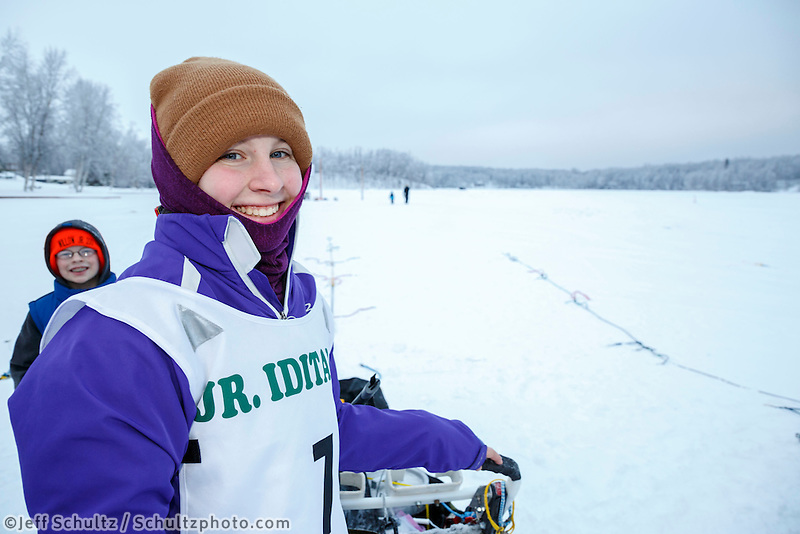 Junior Musher Emma Shawcroft at Knik during the start of the Junior Iditarod on Saturday February 25, 2017. <br /> <br /> <br /> Photo by Jeff Schultz/SchultzPhoto.com  (C) 2017  ALL RIGHTS RESVERVED