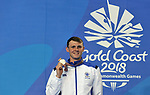 Ross MURDOCH (SCO) with his silver medal. Mens 200m breaststroke. Swimming finals. XXI Commonwealth games. Optus Aquatics Centre. Gold Coast 2018. Queensland. Australia. 05/04/2018. ~ MANDATORY CREDIT Garry Bowden/SIPPA - NO UNAUTHORISED USE - +44 7837 394578