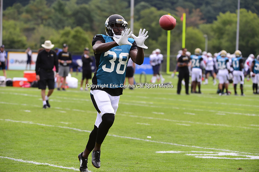 August 7, 2017: Jacksonville Jaguars cornerback Stanley Jean-Baptiste (38) makes a catch during a joint practice at New England Patriots training camp where they hosted the Jacksonville Jaguars on the practice fields at Gillette Stadium, in Foxborough, Massachusetts. Eric Canha/CSM