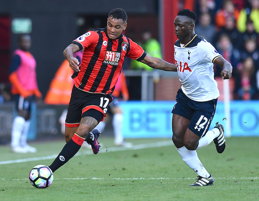 Tottenham Hotspur's Victor Wanyama (R) battles with Bournemouth's Joshua King (L)<br /> <br /> Bournemouth 0 v 0 Tottenham<br /> <br /> Photographer David Horton/CameraSport<br /> <br /> The Premier League - Bournemouth v Tottenham Hotspur - Saturday 22nd October 2016 - Vitality Stadium - Bournemouth<br /> <br /> World Copyright &copy; 2016 CameraSport. All rights reserved. 43 Linden Ave. Countesthorpe. Leicester. England. LE8 5PG - Tel: +44 (0) 116 277 4147 - admin@camerasport.com - www.camerasport.com