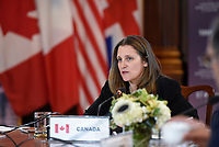 Canadian Foreign Minister Chrystia Freeland speaks at the G-7 Foreign Ministers' Working Session on the Middle East, in Toronto, Canada.