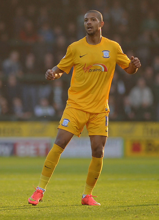 Preston North End's Jermaine Beckford in action during todays match  <br /> <br /> Photographer Kevin Barnes/CameraSport<br /> <br /> Football - The Football League Sky Bet League One - Yeovil Town v Preston North End - Saturday 29th November 2014 - Huish Park - Yeovil<br /> <br /> &copy; CameraSport - 43 Linden Ave. Countesthorpe. Leicester. England. LE8 5PG - Tel: +44 (0) 116 277 4147 - admin@camerasport.com - www.camerasport.com