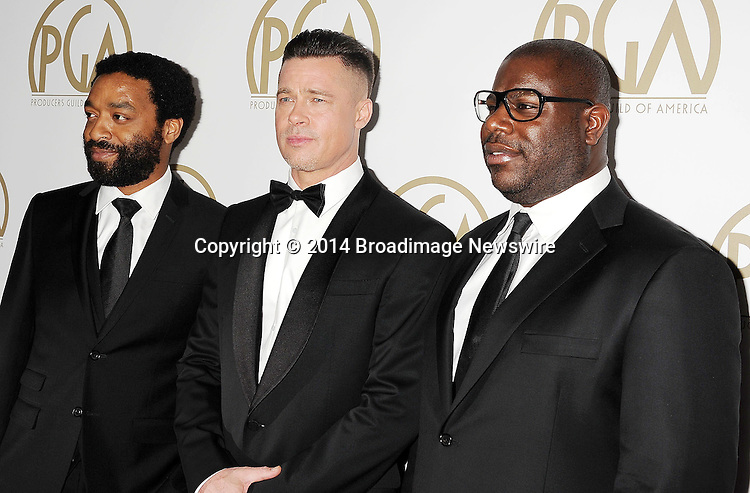 Pictured: Chiwetel Ejiofor; Brad Pitt; Steve McQueen<br /> Mandatory Credit &copy; Joseph Gotfriedy/Broadimage<br /> 25th Annual Producers Guild Awards<br /> <br /> 1/19/14, Beverly Hills, California, United States of America<br /> <br /> Broadimage Newswire<br /> Los Angeles 1+  (310) 301-1027<br /> New York      1+  (646) 827-9134<br /> sales@broadimage.com<br /> http://www.broadimage.com