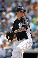 New York Yankees AJ Burnett #34 during a Spring Training game vs the Houston Astros at George M. Steinbrenner Field in Tampa, Florida;  March 2, 2011.  New York defeated Houston 6-5.  Photo By Mike Janes/Four Seam Images