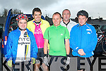CHALLENGE: Taking part in the Chain Gang Cycling Club cycle challenges, The Conor Pass Challenge and The Blasket Blast at the Kerins O'Rahilly's clubhouse on Saturday l-r: Shane Martin, Michael Martin, Kevin Riordan, Oliver Riordan and Don Manning.