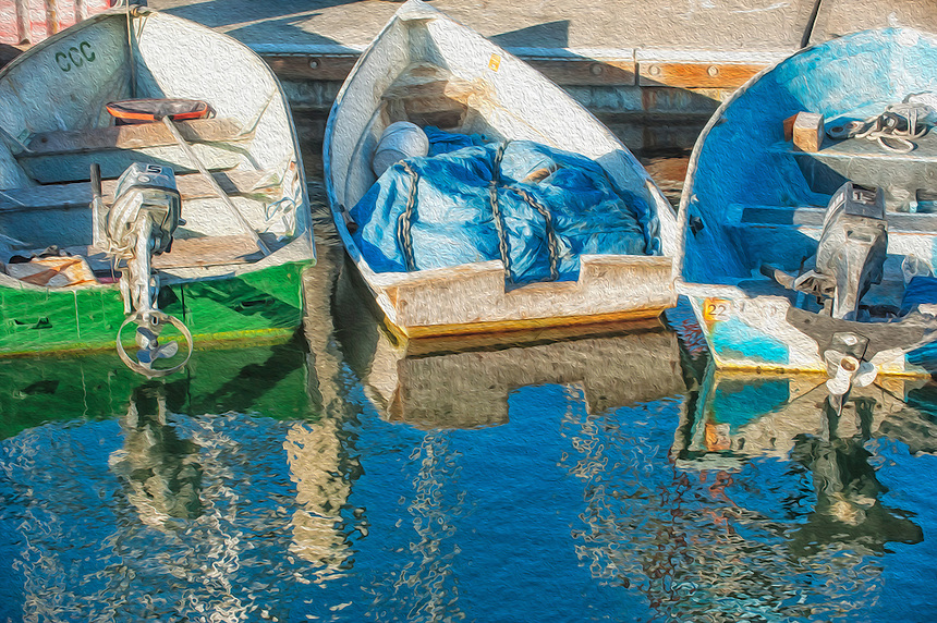 marina, Santa Barbara, California, fishing boats, motor boats, boats, small boats, colorful, bright colors, sunny, summer, artistic digital affects, painterly, photograph, painterly photograph, photography, blue, green