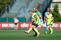 Seattle, WA - Sunday, April 17, 2016: Seattle Reign FC midfielder Jessica Fishlock (10) passes the ball into Sky Blue FC territory during the first half of the match, at Memorial Stadium. Sky Blue FC defeated the Seattle Reign FC 2-1during a National Women's Soccer League (NWSL) match at Memorial Stadium.