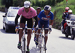 Miguel Indurain (ESP) was today inducted into the Giro d'Italia Hall of Fame. The Spaniard who won the Corsa Rosa in 1992 and 1993 joins the roll of honor alongside Merckx, Gimondi, Roche, Moser, Baldini and Hinault. Pictured here in his heyday with Claudio Chiapucci in the 1992 Giro. 5th April 2018.<br /> Picture: Roberto Bettini/Bettein Photo | Cyclefile<br /> <br /> <br /> All photos usage must carry mandatory copyright credit (&copy; Cyclefile | Roberto Bettini/Bettein Photo)