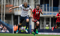 Harry Kane of Tottenham Hotspur and Adam Smith of Bournemouth during the Premier League match between Tottenham Hotspur and Bournemouth at White Hart Lane, London, England on 15 April 2017. Photo by Mark  Hawkins / PRiME Media Images.