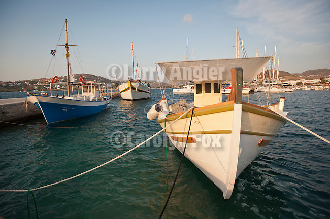 Small boats in the harbour, Naoussa, Greece.