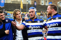Leroy Houston of Bath Rugby speaks to his team-mates in a post-match huddle. Aviva Premiership match, between Bath Rugby and Worcester Warriors on September 17, 2016 at the Recreation Ground in Bath, England. Photo by: Patrick Khachfe / Onside Images