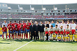 11 February 2006: Costa Rica's starting eleven (left), Korea's starting eleven (right), and officials and dignitaries (center), pregame. The Costa Rica Men's National Team defeated South Korea 1-0 at McAfee Coliseum in Oakland, California in an International Friendly soccer match.