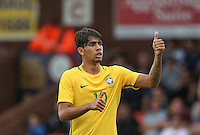 Goalscorer Lucas Paqueta of Brazil thumb up during the International match between England U20 and Brazil U20 at the Aggborough Stadium, Kidderminster, England on 4 September 2016. Photo by Andy Rowland / PRiME Media Images.