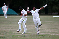 Shahbaz Khan of Harold Wood claims the third Shenfield wicket during Harold Wood CC vs Shenfield CC (batting), Essex Cricket League Cricket at Harold Wood Park on 25th July 2020