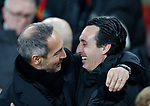 Unai Emery manager of Arsenal greets Adolf Hutter coach of Eintracht Frankfurt during the UEFA Europa League match at the Emirates Stadium, London. Picture date: 28th November 2019. Picture credit should read: David Klein/Sportimage