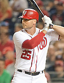 Washington Nationals first baseman Clint Robinson (25) pinch hits in the fourth inning for Washington Nationals starting pitcher Lucas Giolito (44) after the rain delay against the New York Mets at Nationals Park in Washington, D.C. on Tuesday, June 28, 2016. The Nationals won the game 5 - 0.<br />