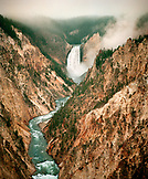 USA, Wyoming, Yellowstone Falls and River amid rocky mountains, Yellowstone National Park