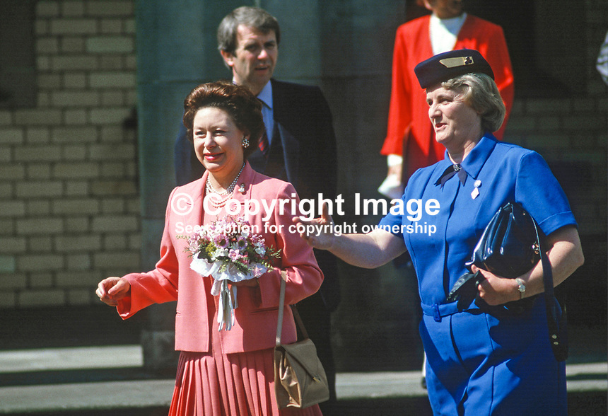 HRH, Princess Margaret, was the guest of Guides and Brownies at Lorne, Craigavad, near Belfast, during a two day visit to N Ireland. She is accompanied by Mrs Eva Eves, the Chief Commissioner  on a tour of the 21 acre estate which offers a wide range of training and recreational facilities for the movement. 19840075PM5<br />