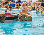 Indianola Park and Recreations hosted cardboard boat races at the Veteran's Memorial Aquatic Center July 22. Mid-pool collisions were common for Quinten Shivers, left, and Stennett Cummins.