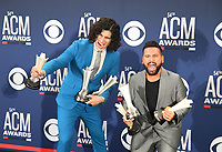 LAS VEGAS, NEVADA - APRIL 07: Duo of the Year award winners Dan + Shay pose in the press room during the 54th Academy Of Country Music Awards at MGM Grand Hotel &amp; Casino on April 07, 2019 in Las Vegas, Nevada.  <br /> CAP/MPIIS<br /> &copy;MPIIS/Capital Pictures
