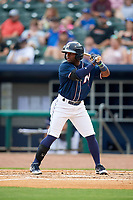 Northwest Arkansas Naturals second baseman Ruben Sosa (4) at bat during a game against the Midland RockHounds on May 27, 2017 at Arvest Ballpark in Springdale, Arkansas.  NW Arkansas defeated Midland 3-2.  (Mike Janes/Four Seam Images)
