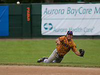 GREEN BAY - June 2015: Kenosha Kingfish outfielder Nick Sergakis (14) during a Northwoods League game against the Green Bay Bullfrogs on June 21st, 2015 at Joannes Park in Green Bay, Wisconsin. Green Bay defeated Kenosha 10-7. (Brad Krause/Krause Sports Photography)