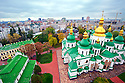 View west from the bell tower of Saint Sophia's Cathedral, Kiev, Ukraine, on a rainy day in October, 2012.