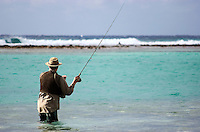 Fly Fisherman (MR) fishing for bonefish in Cayman Bra