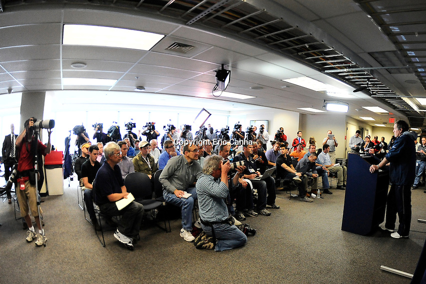 New England Patriots head coach Bill Belichick fields questions from the media about newly acquired quarterback Tim Tebow (5) during the New England Patriots mini camp at Gillette Stadium in Foxborough Massachusetts.   Eric Canha/CSM