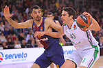 Turkish Airlines Euroleague 2017/2018.<br /> Regular Season - Round 13.<br /> FC Barcelona Lassa vs Unicaja Malaga: 83-90.<br /> Pierre Oriola vs Carlos Suarez.