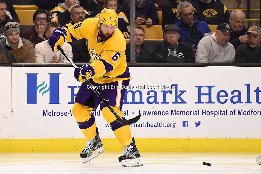 Tuesday, February 9, 2016: Los Angeles Kings defenseman Jake Muzzin (6) passes the puck during the National Hockey League game between the Los Angeles Kings and the Boston Bruins, held at TD Garden, in Boston, Massachusetts. The Kings defeat the Bruins 9-2. Eric Canha/CSM