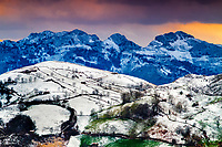 snow-capped mountains, Puerto de Alisas, or Port of Alisas, Cantabria, Spain