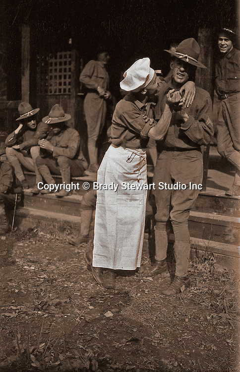 Petersburg VA:  80th Division cook fooling around outside mess hall,  80th Division encampment - 1918.
