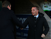 4th November 2017, McDiarmid Park, Perth, Scotland; Scottish Premiership football, St Johnstone versus Celtic; Brendan Rodgers greets Tommy Wright before the game