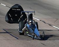 Feb 26, 2016; Chandler, AZ, USA; NHRA top dragster driver Kent Kroeker during qualifying for the Carquest Nationals at Wild Horse Pass Motorsports Park. Mandatory Credit: Mark J. Rebilas-
