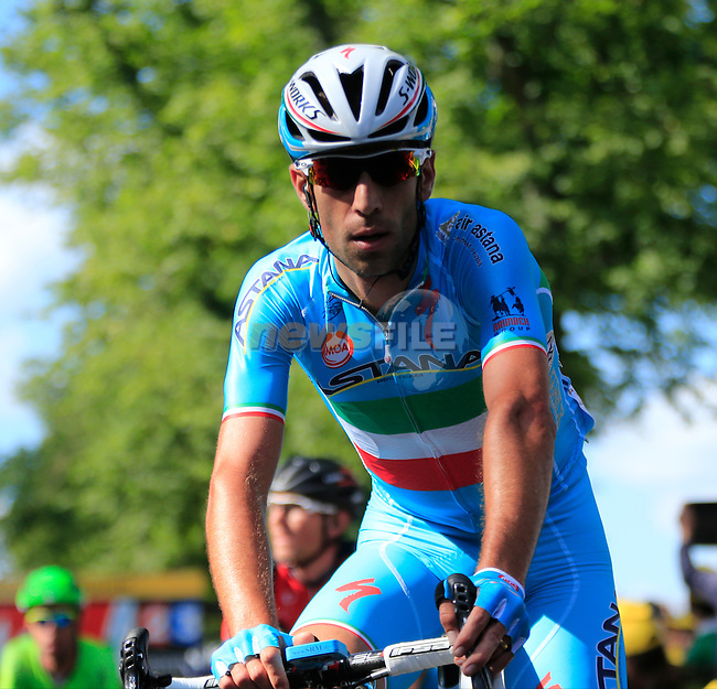Italian National Champion Vincenzo Nibali (ITA) Astana crosses the finish line of Stage 1 of the 2014 Tour de France running 190.5km from Leeds to Harrogate. 5th July 2014.<br /> Picture: Eoin Clarke www.newsfile.ie