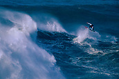 6th January 2018, Praia do Norte, Nazaré , Portugal; Lucas Chumbo, pro surfer from Brazil rides a giant wave and performs an arial trick