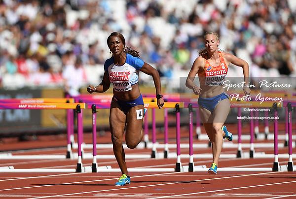 TiffanyPORTER (GBR) in the womens 100m hurdles heats. IAAF world athletics championships. London Olympic stadium. Queen Elizabeth Olympic park. Stratford. London. UK. 11/08/2017. ~ MANDATORY CREDIT Garry Bowden/SIPPA - NO UNAUTHORISED USE - +44 7837 394578