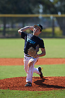 Aiden Olenjack (8) of Willow Park, Texas during the Baseball Factory All-America Pre-Season Rookie Tournament, powered by Under Armour, on January 14, 2018 at Lake Myrtle Sports Complex in Auburndale, Florida.  (Michael Johnson/Four Seam Images)