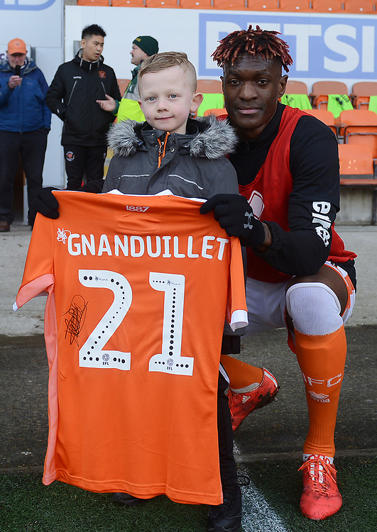 Blackpool's Armand Gnanduillet presents a shirt<br /> <br /> Photographer Kevin Barnes/CameraSport<br /> <br /> The EFL Sky Bet League One - Blackpool v Walsall - Saturday 9th February 2019 - Bloomfield Road - Blackpool<br /> <br /> World Copyright © 2019 CameraSport. All rights reserved. 43 Linden Ave. Countesthorpe. Leicester. England. LE8 5PG - Tel: +44 (0) 116 277 4147 - admin@camerasport.com - www.camerasport.com