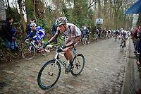 Damien Gaudin (FRA) up the Taaienberg<br /> <br /> Omloop Het Nieuwsblad 2014
