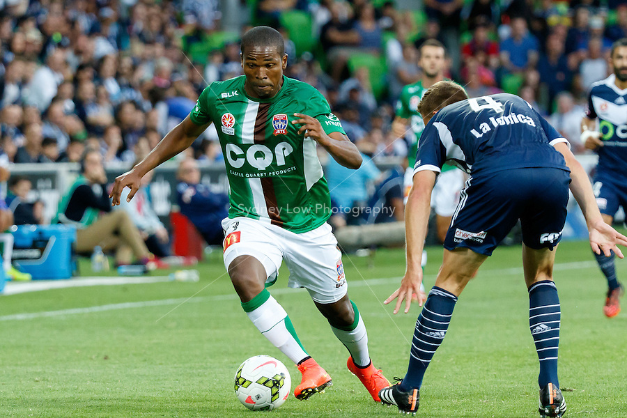 Edson MONTANO (13) of the Jets controls the ball in round 12 A-League match between Melbourne Victory and Newcastle Jets at AAMI Park in Melbourne, Australia during the 2014/2015 Australian A-League season. Melbourne def Newcastle 1-0