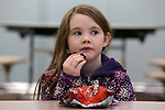 Students from the Mansquan Elementary School take a tour of Manasquan High School. Shannon Edwards enjoying her snack break while taking a break in the high school's cafeteria.<br /> (3/29/18)<br /> (MARK R. SULLIVAN /THE COAST STAR)