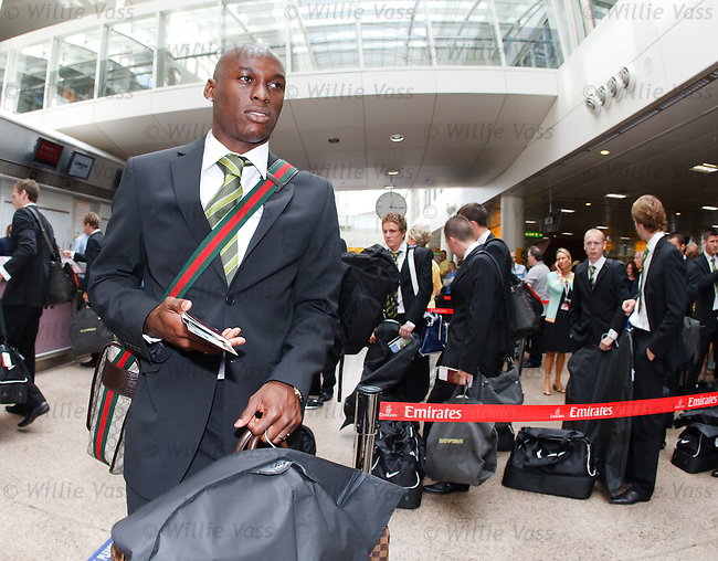 Marc-Antoine Fortune about to board his Emirates flight to Brisbane